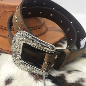 Nixon's sz L leather western cowgirl belt